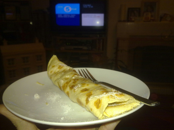 My third pancake in front of the football