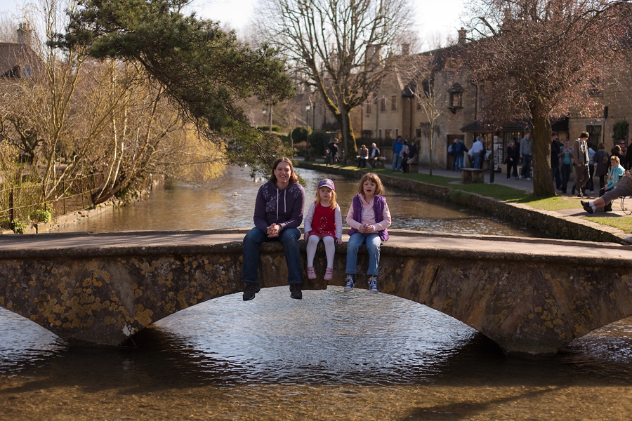 Sarah, Holly and Rebekah on a bridge in Bourton
