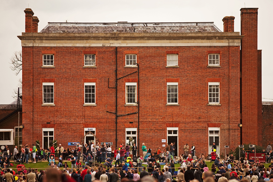 Crowds on the back lawn at Hall Place
