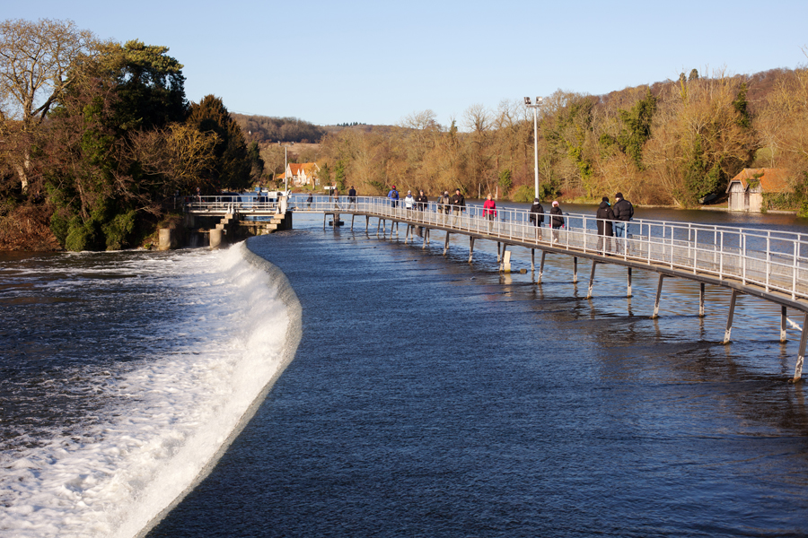 Looking across the weir