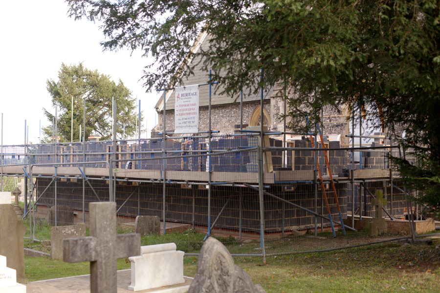 Work progressing on the new vestry at Cookham Dean Church