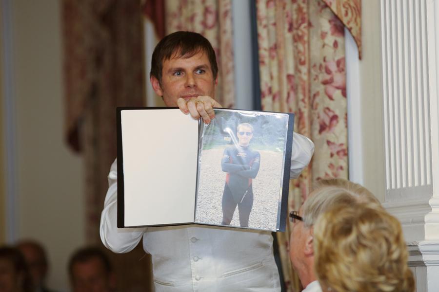 Steve wearing a lady's wetsuit