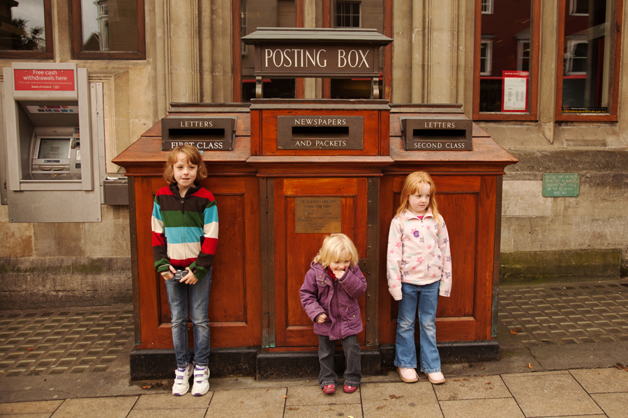 The girls by the post box