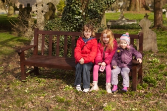 Sitting on the bench in Cookham Dean churchyard