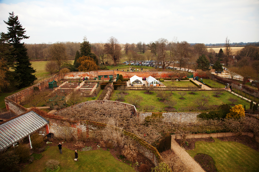 Looking down across the garden to the car park