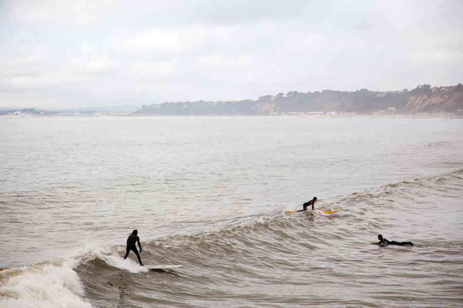 Surfers at play
