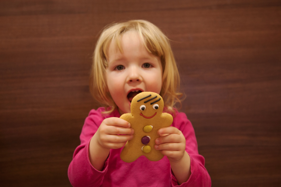 Emily about to do battle with a gingerbread man