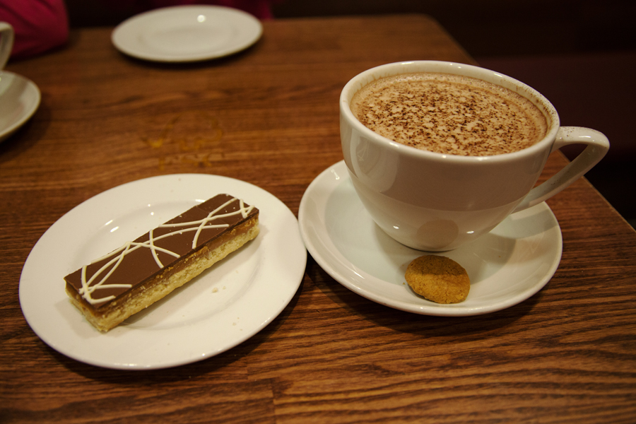 Millionaire shortbread and hot chocolate