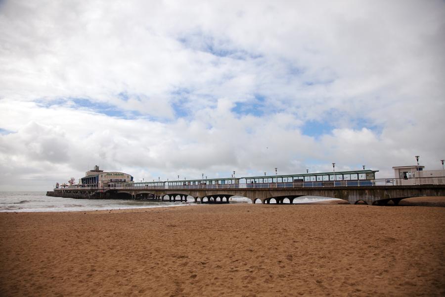 Blue sky above the pier