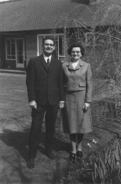 Grandad and Grandma in their back garden at 55 Cookham Road in 1971