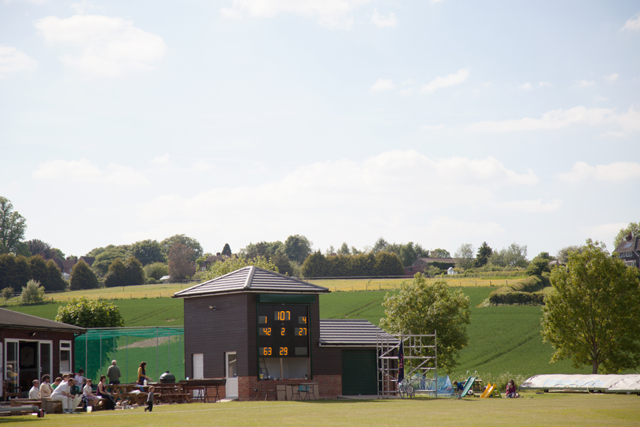 The new scoreboard at Cookham Dean Cricket Club