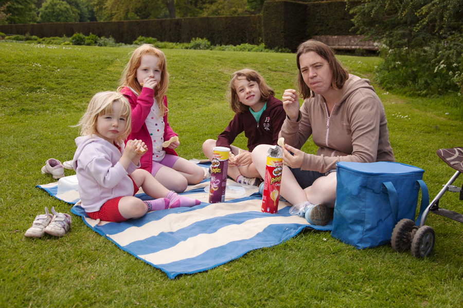 A slightly chilly picnic on the back lawn
