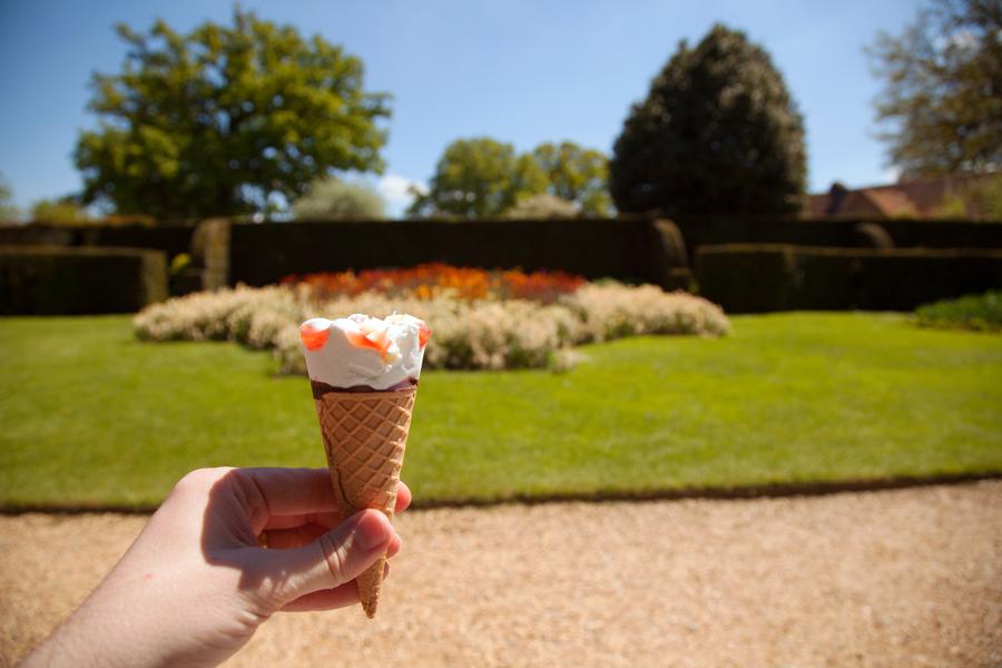 Enjoying an ice cream in the sunshine