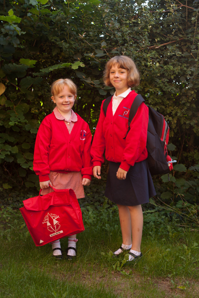 Holly and Rebekah ready for school