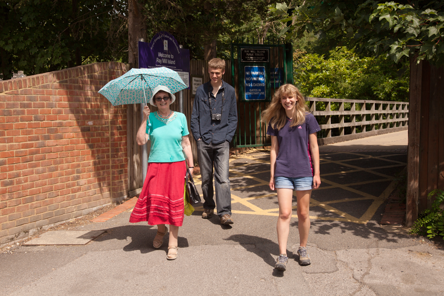 Mum with her makeshift parasol, with Hugh and Katy