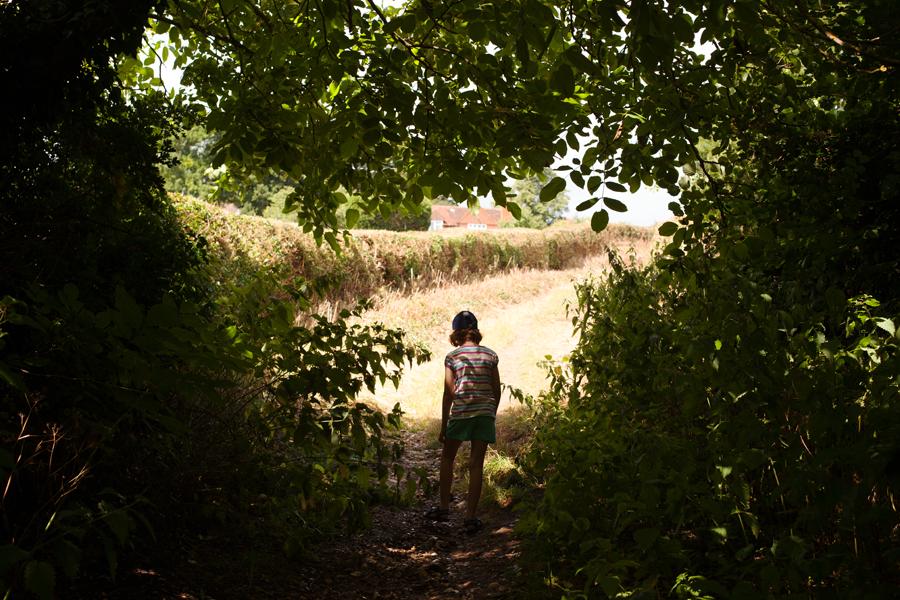 Rebekah heading up the path