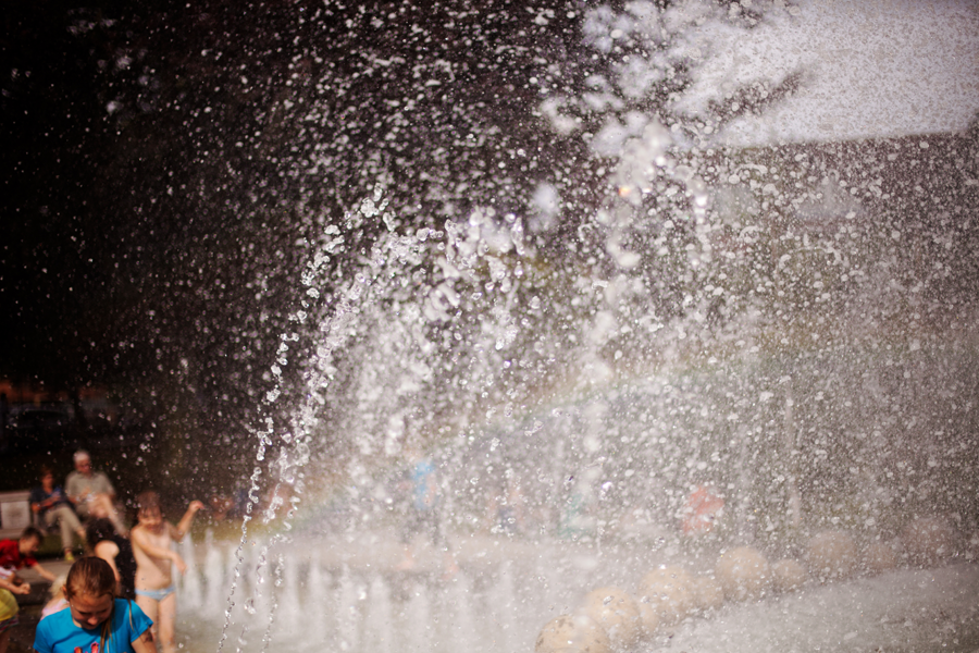 Spray from the fountain