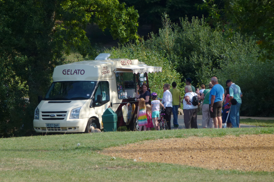 Queuing for ice creams in September