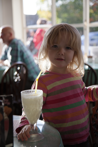 Emily with her milkshake