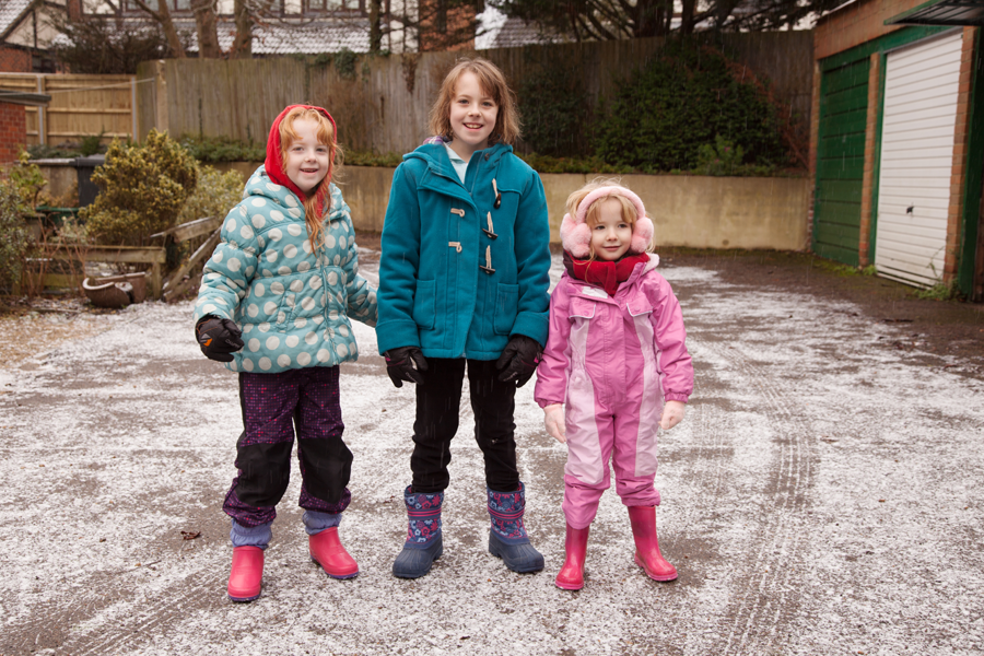 Three girls in the 'snow'
